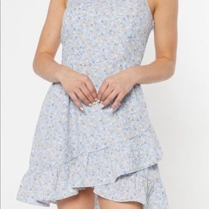 Light blue floral ruffle dress